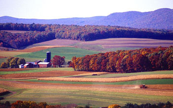 Image of a farm and forests in midst of fall color change.