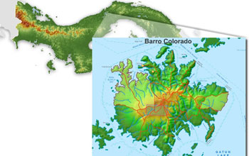 Map showing the location of Barro Colorado Island, Panama.