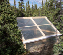 Photo of a greenhouse warming experiment in Alaska's boreal forest.