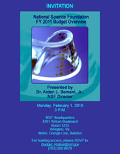 Text and photo: Invitation, National Science Foundation FY 2011 Budget Overview.
