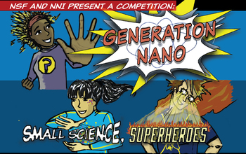 comic showing various characters and the text genration nano small science superheroes