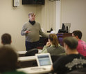 Indiana University professor Geoffrey Fox with students in class