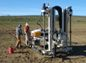 an infiltration testbed with instruments to assess groundwater recharge and recovery.