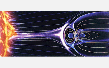 Artist's rendering showing the solar wind as it streaks by Earth.