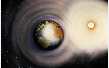 Illustration showing the  interactions between the Sun and the Earth.
