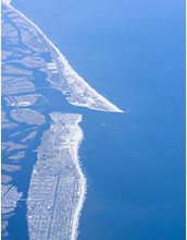 An aerial view of Long Island shows its low-lying shores, vulnerable to rising sea-levels.
