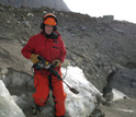 LSU graduate student Shawn Doyle carries a demolition hammer used to excavate the sampling tunnel.