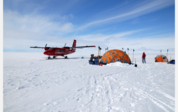 Photo of the researchers' field camp in Greenland.