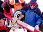 scientist Lonnie Thompson cuts an ice core