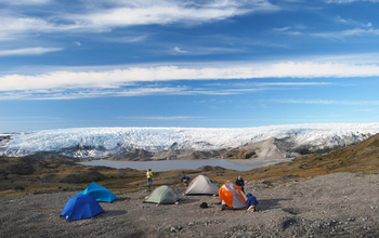 A camp at the edge of the Greenland ice sheet