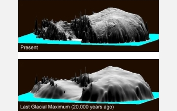 Representations of present (top) and past (bottom) elevation of the Antarctic ice sheet