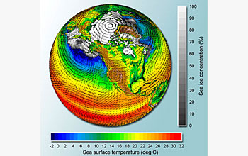 A simulation of earth from the Parallel Climate Model (PCM).