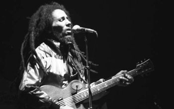 Photo of the late reggae guitarist/singer Bob Marley.
