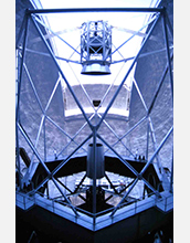 An interior view of the Keck I Telescope at the W. M. Keck Observatory in Hawaii.