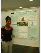 Photo of Ashley Golphin presenting a poster of her research at the University of Puerto Rico