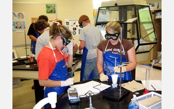 Photo of students in chemistry lab.