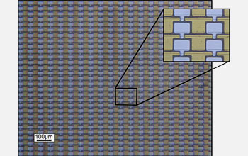 Optical micrograph showing an array of graphene transistors prepared on silicon carbide.