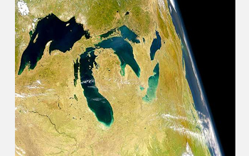 A photo of the Great Lakes as seen from space.