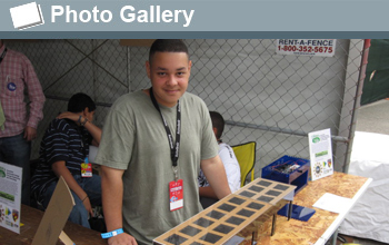 Photo of young man with his invention and the words Photo Gallery