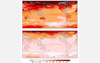 Simulations show air temperatures if (top) emissions continue, or (bottom) if cut by 70 percent.