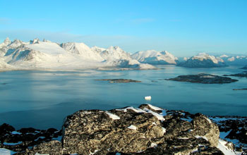 Photo of scenery from Ravnefjeldet, Nanortalik, southernmost part of Greenland.