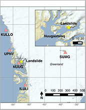the location of the Nuugaatsiaq landslide (yellow star)