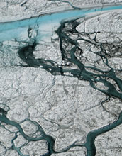 Water features similar to rivers on the surface of the Greenland ice sheet