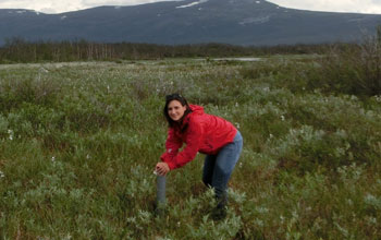 GROW student Anna Normand in the field in Sweded