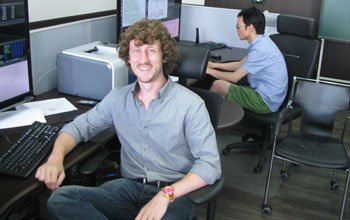 GROW PhD student Calen Henderson (foreground) in a Korean univeristy lab