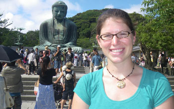GROW student Carolyn Keogh at Kotoku-in temple in Kamakura, Japan