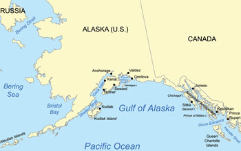 Map of the Gulf of Alaska, where IODP Expedition 341 is taking place.