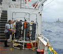 Photo of the cable-lowered sampling system used to collect samples for lab analysis of the plume.