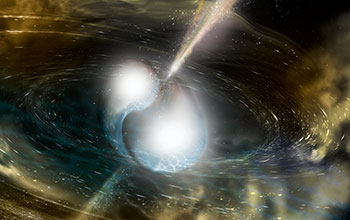 Artist's illustration of two merging neutron stars producing gravitational waves.