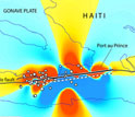 In Haiti, areas in red are closer to rupture; grey circles show the locations of aftershocks.