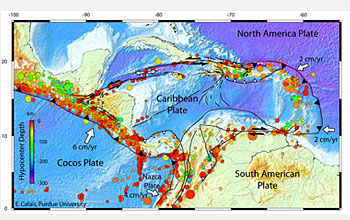 The seismotectonic context of Earth's Caribbean tectonic plate is shown in this map.