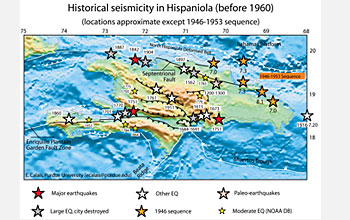 This map shows the historical seismicity in Hispaniola before 1960.
