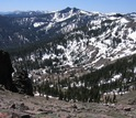 Waning snowpack on the crest of the Sierra Nevada's Twin Peaks, near the Pacific Crest Trail.