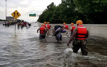 First responders from across the U.S. came to the rescue during floods from Harvey's rains.