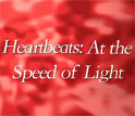 Illustration showing a red background and the text hearbeats at the speed of light