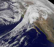 Satellite image of moisture flow called the Pineapple Express as it enters California from the Pacific Ocean.