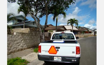 Photo of a botanical survey truck used in a roadside survey across the island of O'ahu.