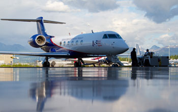 Photo of NSF's Gulfstream V aircraft, or HIAPER, in Anchorage, Alaska.