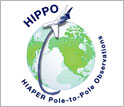 HIPPO logo with words HIPPO and HIAPER Pole-to-Pole Observations.