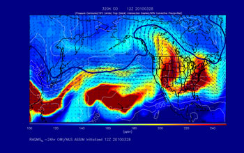 Model simulation of carbon monoxide in the middle and upper troposphere in March-April 2010.
