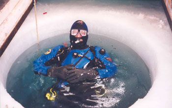 a diver in a dive hole