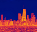 heat map of the Chicago skyline
