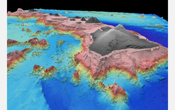 Image showing the topography of the Hawaiian Islands in 3-D.