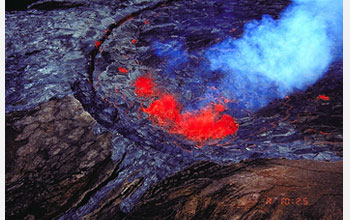 Aerial photo of Puu Oo cinder-and-spatter cone on the east rift zone of Kilauea.