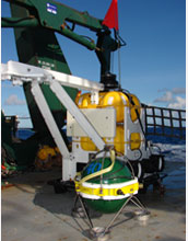Photo of an ocean-bottom seismometer package.