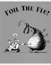 Cartoon entitled Foil the Flu depicting a man poking a needle into a virus.